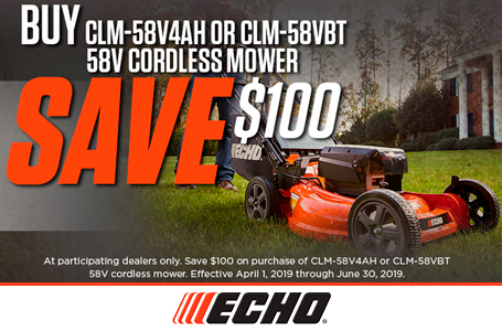 Save $100 with Purchase of 58V Cordless Mower
