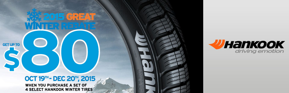 Get up to $80 on select Hankook winter tires