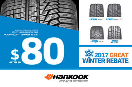 Gomez Tires current promotion for Hankook, 2017 Great Winter Rebate