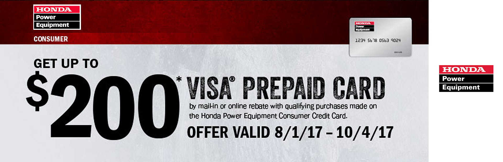 Honda Power Equipment: Get Up To A $200 Visa Prepaid Card