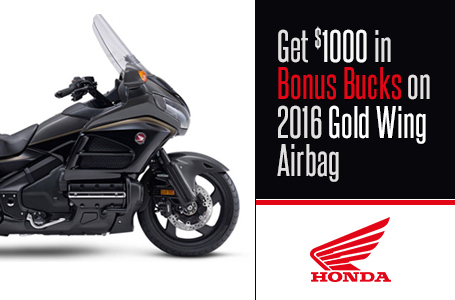 Get $1000 in Bonus Bucks on 2016 Gold Wing Airbag