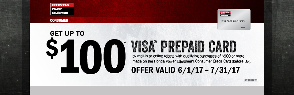 Honda Power Equipment: Get Up To A $100 Visa Prepaid Card