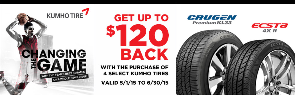 Purchase 4 select Kumho tires at The Quiet Zone in Milwaukee, WI and get up to $120 Back