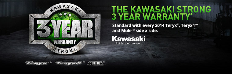 The Kawasaki Strong 3 Year Warranty*