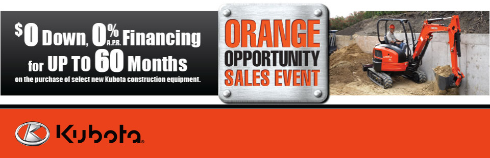 Kubota: $0 Down, 0% APR Financing For Up To 60 Months