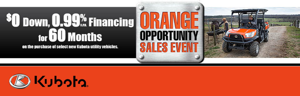 Kubota: $0 Down, 0.99% APR Financing for 60 Months
