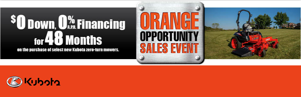 Kubota: $0 Down, 0% APR Financing for 48 Months