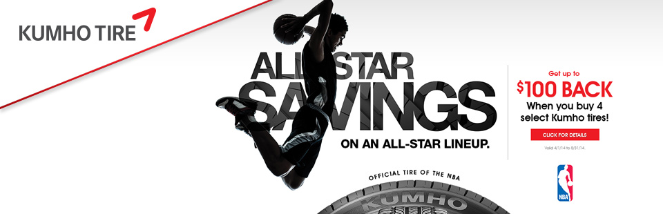 Get Up to $100 Back on 4 Select Kumho Tires