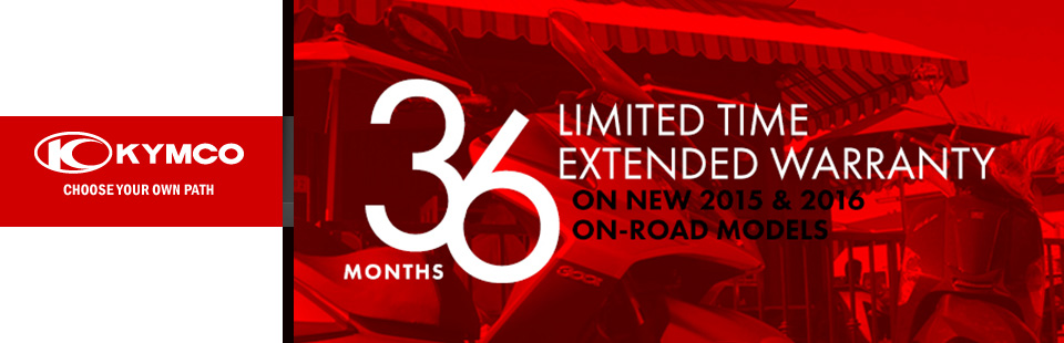 KYMCO: Extended Warranty Included With Any 2015 Or 2016
