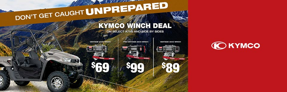 KYMCO Winch Deal on select ATV and Side x Sides