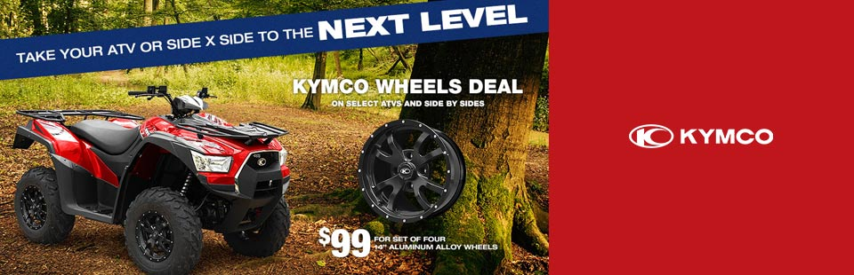 Kymco Wheels Deal on select ATVs and Side x Sides