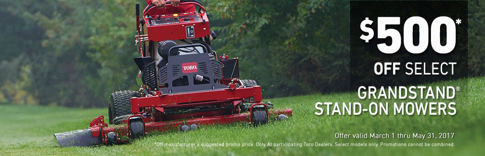 Toro: $500* Off Select Grandstand Stand-On Mowers