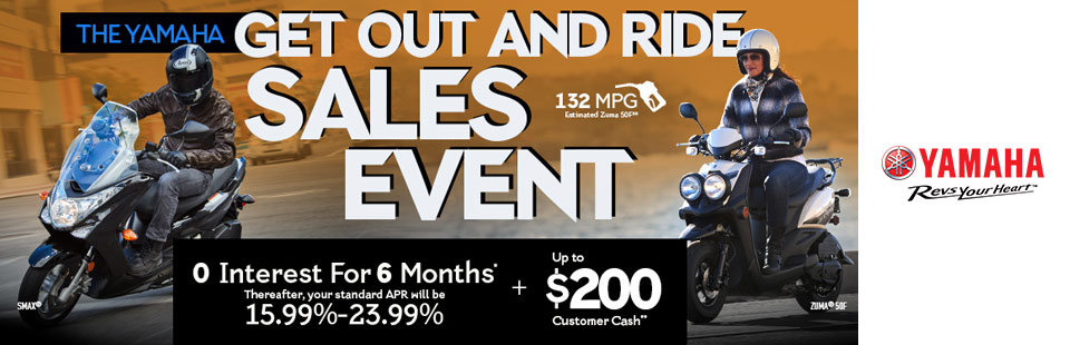 Yamaha: 0 Interest For 6 Months + Up To $200 Customer Cash