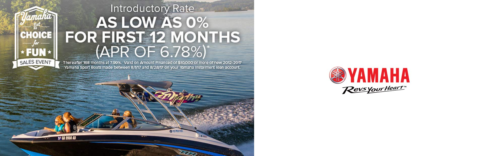 Yamaha: As Low As 0% For First 12 Months