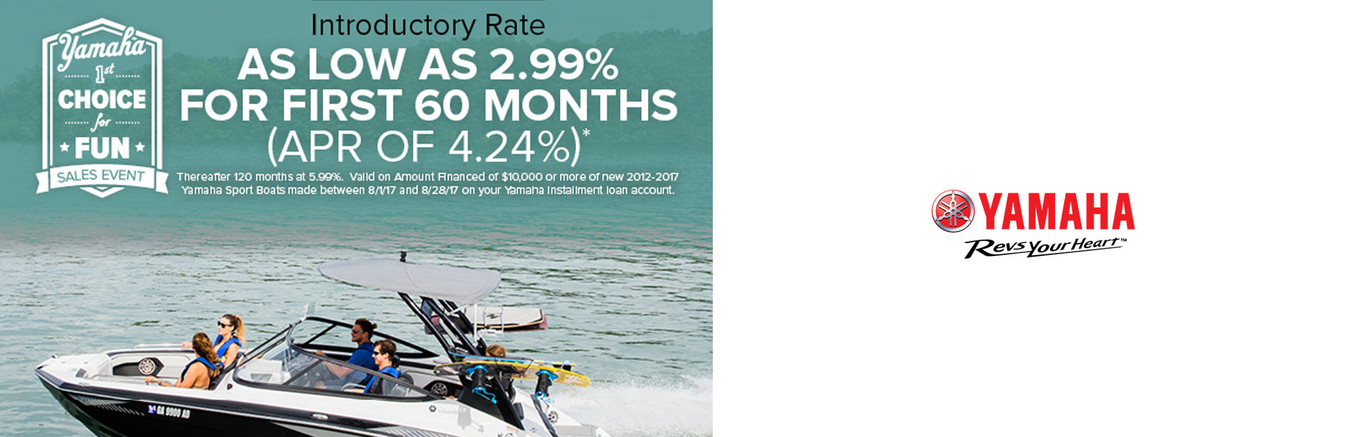 Yamaha: As Low As 2.99% For First 60 Months
