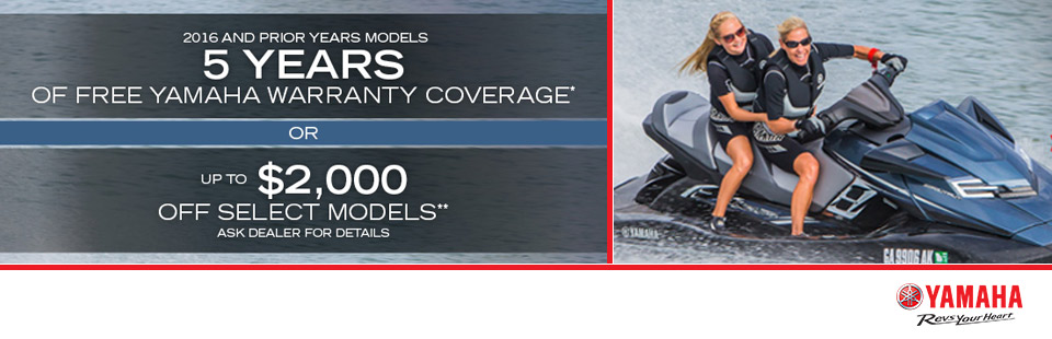 Yamaha: 5 Years Free Warranty Coverage or Up To $2000 Off