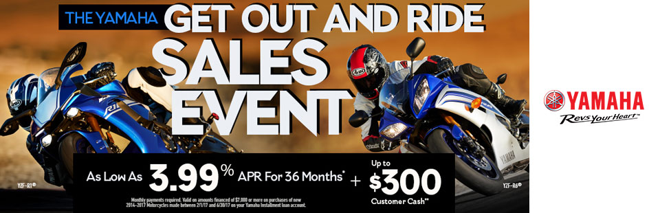 Yamaha: As Low As 3.99% APR For 36 Months+ Up To $300
