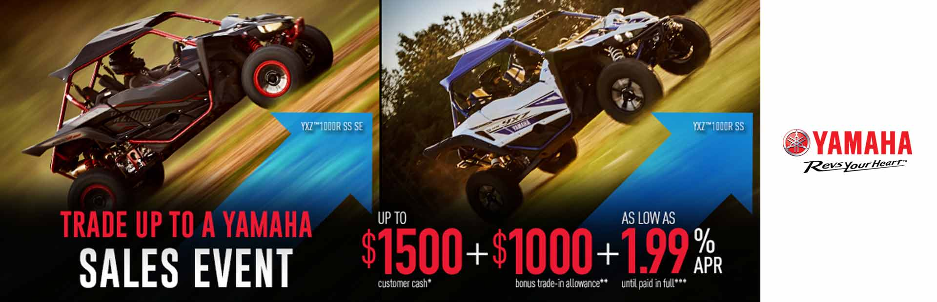 Yamaha: Up To $1500 + $1000 + As Low As 1.99% APR