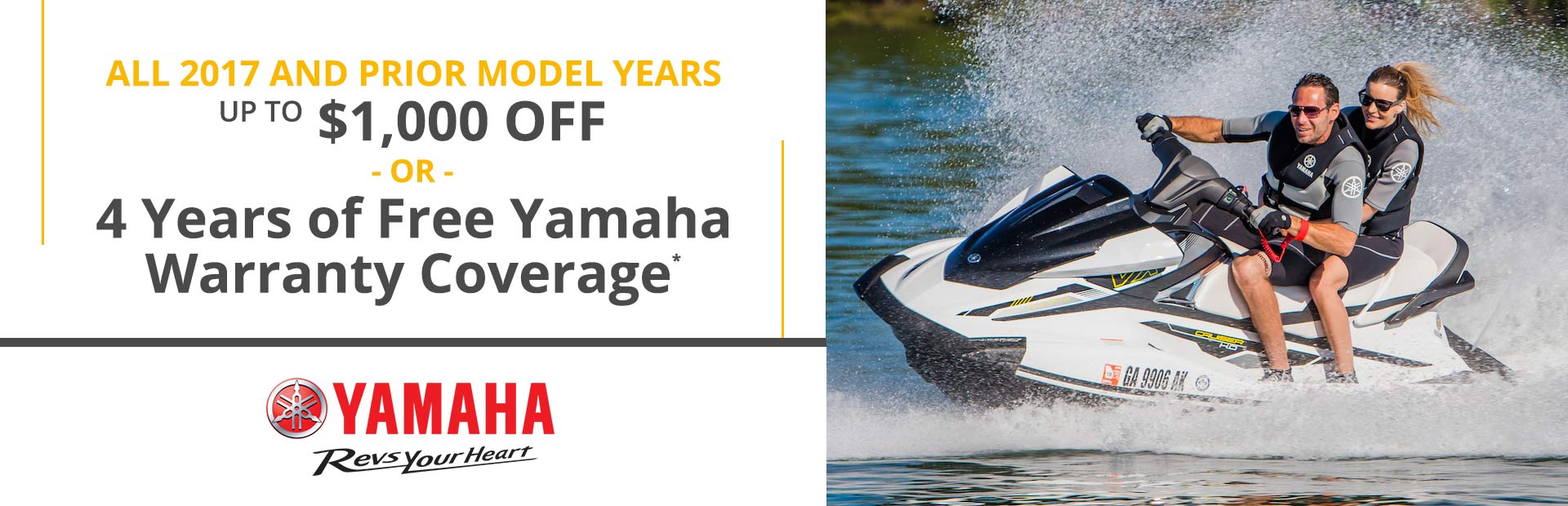 Yamaha: Up to $1,000 Off or 4 Years of Warranty Coverage