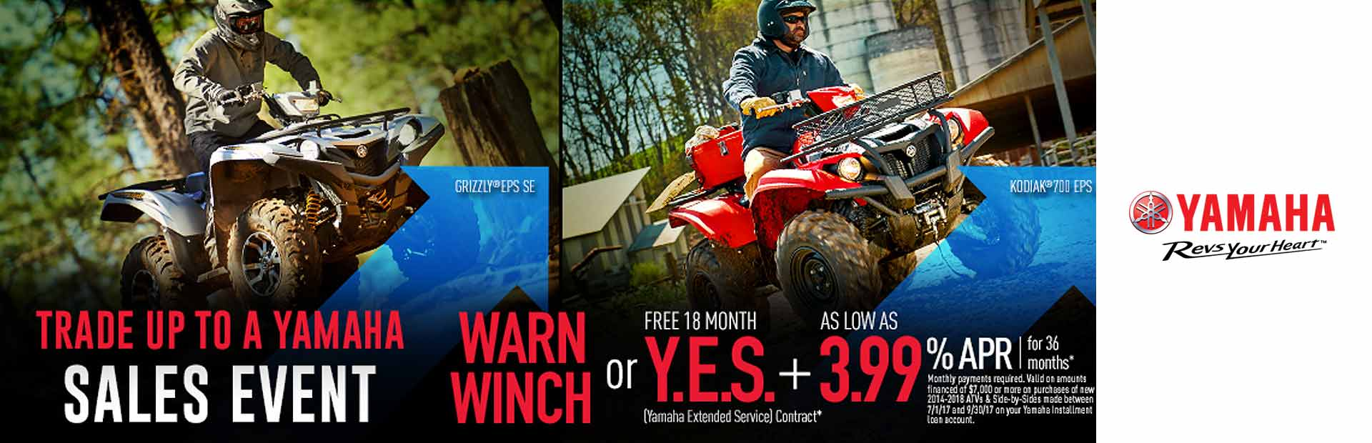 Yamaha: Warn Winch or Y.E.S. + 3.99% APR For 36 Months*