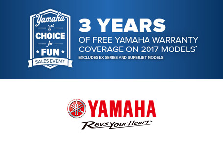 3 years of free Yamaha Warranty on 2017 models