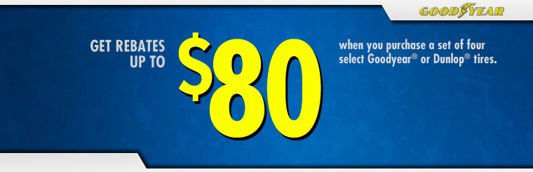 Get Up to an $80 Goodyear® Visa® Prepaid Card