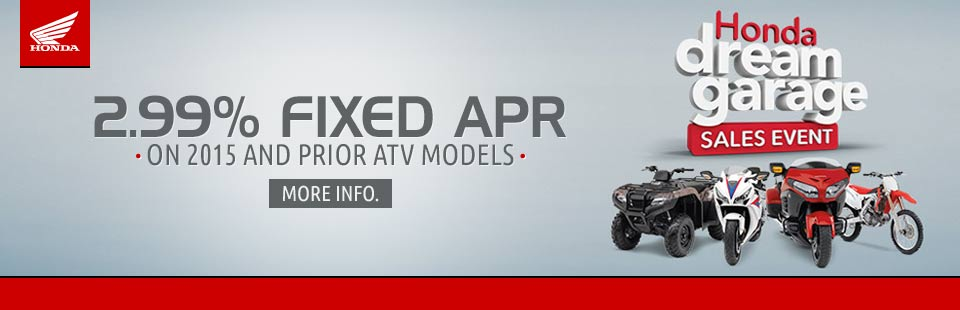 2.99% Fixed APR on 2015 and Prior ATV Models