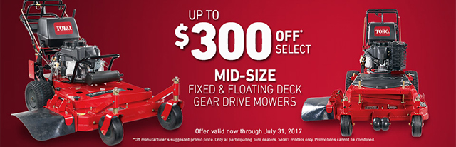 Toro: $300 Off* Select Mid-Size Gear Drive Mowers