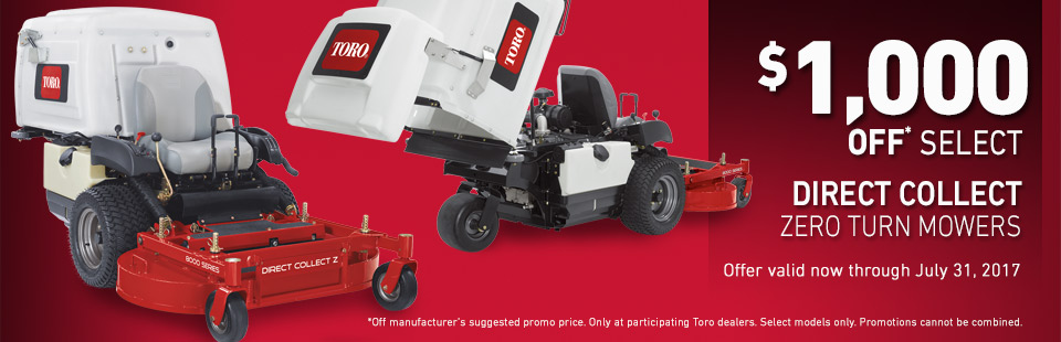Toro: $1,000 Off* Select Direct Collect Zero Turn Mowers