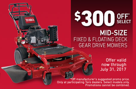 $300 Off* Select Mid-Size Gear Drive Mowers