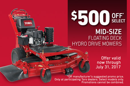 $500 Off* Select Mid-Size Hydro Drive Mowers