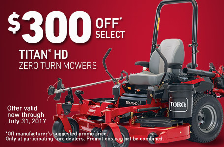 $300 Off* Select Titan® HD Zero Turn Mowers