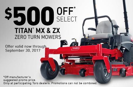$500 Off Select TITAN MX and ZX Mowers