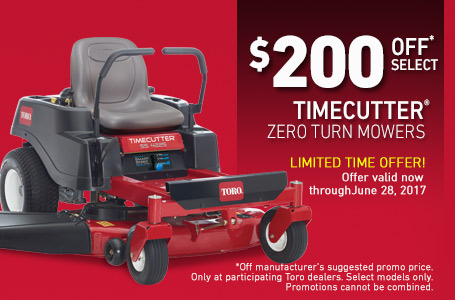 $200 Off* Select Time Cutter Zero Turn Mowers