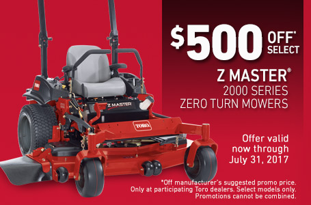 $500 Off* Select Z Master 2000 Series Zero Turn