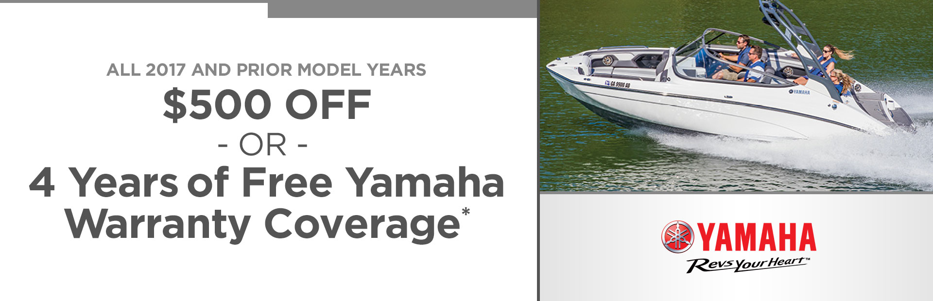 $500 Off or 4 Years of Yamaha Warranty Coverage