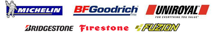 We proudly offer products from Michelin®, BFGoodrich®, Uniroyal®, Bridgestone, Firestone, and Fuzion.