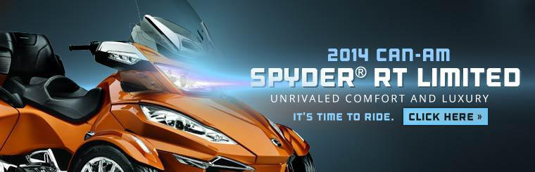 The 2014 Can-Am Spyder® RT Limited offers unrivaled comfort and luxury. Click here to check it out.