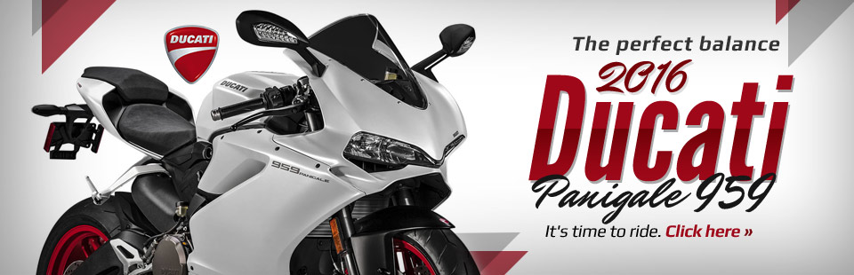It's time to ride. The 2016 Ducati Panigale 959 has perfect balance. Click here for more information.