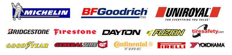 We carry Bridgestone, Firestone, Dayton, Fuzion, Michelin, BFGoodrich, Goodyear, Continental, General, Pirelli, and Yokohama products. For more info on tire safety, visit TireSafety.com.