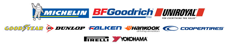 We proudly carry products from Michelin®, BFGoodrich®, Uniroyal®, Goodyear, Dunlop, Falken, Hankook, Cooper, Pirelli and Yokohama.