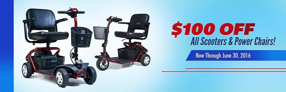 Get $100 off all scooters and power chairs through June 30, 2016!