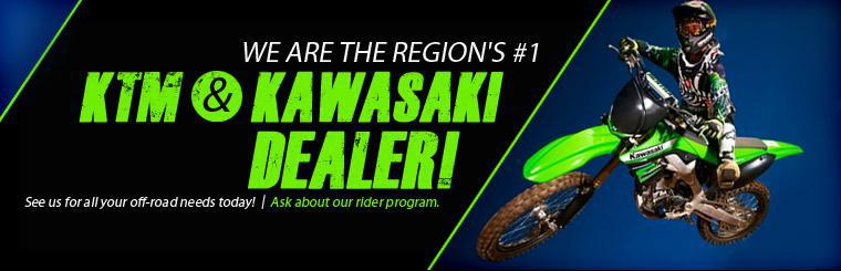 We are the region's #1 KTM and Kawasaki dealer! See us for all your off-road needs today and ask about our rider program! Click here to view new models.