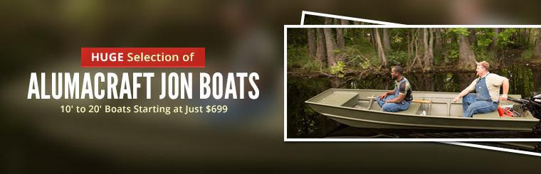 Huge Selection of Alumacraft Jon Boats: We have 10' to 20' boats starting at just $699!