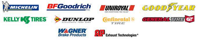 We carry products from Michelin®, BFGoodrich®, Uniroyal®, Goodyear, Kelly, Dunlop, Continental, General, Wagner Brakes, and AP Exhaust.