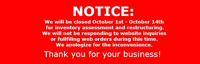 WE WILL BE CLOSED - OCT 1 TO 14