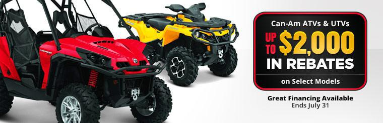 Can-Am ATVs and UTVs: Get up to $2,000 in rebates on select models, plus great financing is available! This offer ends July 31.