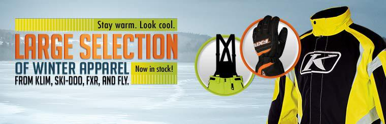 We have a large selection of winter apparel from Klim, Ski-Doo, FXR, and Fly now in stock! Click here to shop.