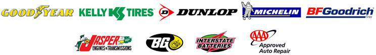 We proudly carry Goodyear, Kelly, Dunlop, Michelin®, BFGoodrich®, BG, Interstate Batteries, AAA, and Jasper.