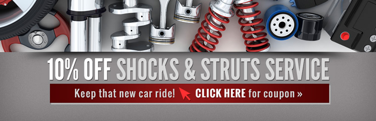 get 10% off shocks & struts service at Ellis Automotive - Click for your coupon!
